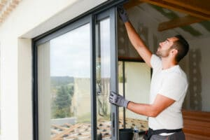 A company installing glass doors